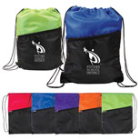 Promotional Nylon Drawstring Backpack - Two Tone Nylon Drawstring