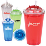 Promotional Double Wall Acrylic Tumbler With Straw