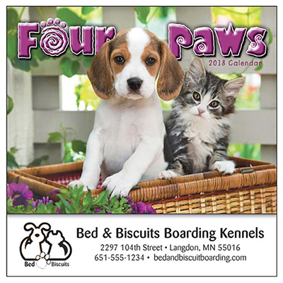 four paws mini wall calendar