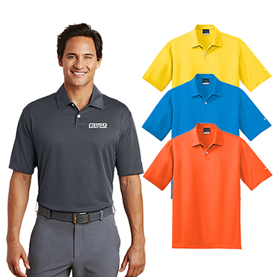 online boutique outlet selezione migliore Personalized Nike Golf Dri Fit Pebble Texture Polo shirts with logo