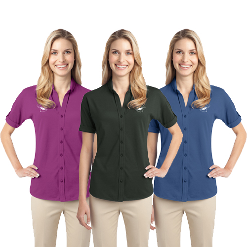 Ladies Stretch Pique Button-Front Shirt