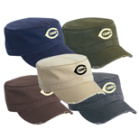 Bulk Military Style Caps - Superior Garment Washed Cotton Twill Distressed Visor Military Style Cap