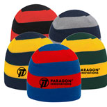 "Custom Printed Acrylic Knit Beanie - 8 1/2"" Acrylic Knit Striped Beanie"