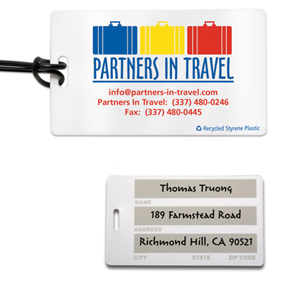 write-on surface luggage tag