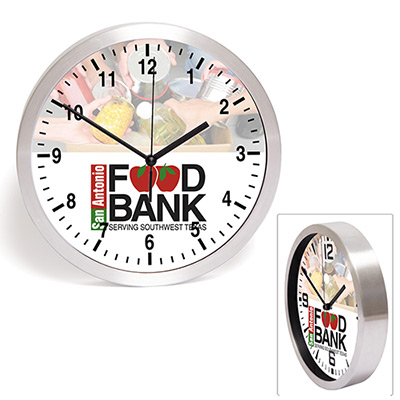 10 brushed metal wall clock