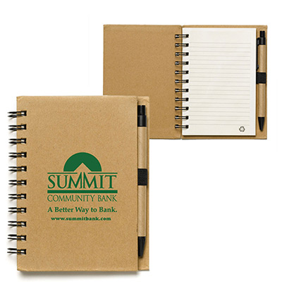 recycled notepad with recycled paper pen
