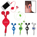 Printed Retractable Ear Buds - Custom Retractable Ear Buds