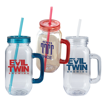 25 oz Plastic Mason Jar with Handle