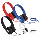 Promotional Techno Headphones, Logo Imprinted Plastic Headphones