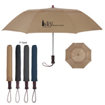 "Promotional 44"" Arc Telescopic Folding Wood Handle Umbrella - Customized Telescopic Wood Handle Umbrellas"