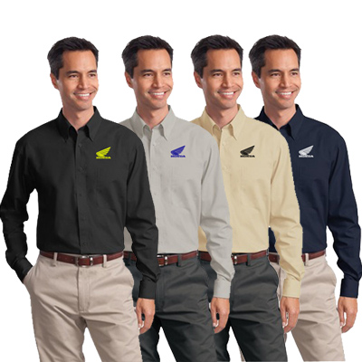 Customized Port Authority Men's long Sleeve Poplin Shirt