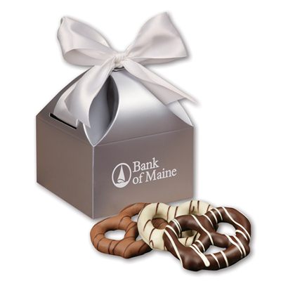 Chocolate Pretzels in Silver Gift Box