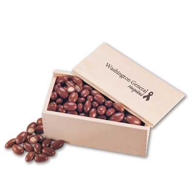 Chocolate Almonds in Wooden Box