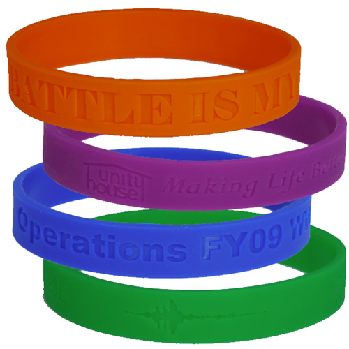 custom debossed wristbands 3/4