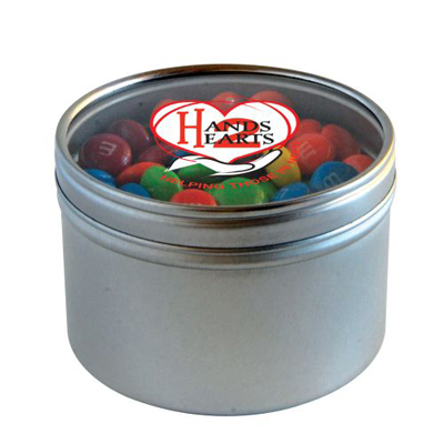 plain m&ms in round tin