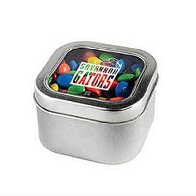 square tin of plain m&ms