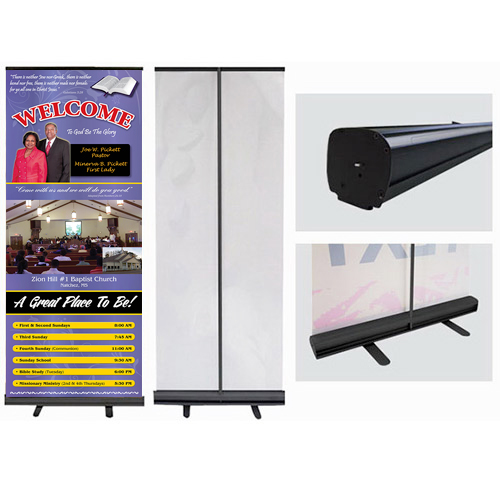 retractable banner with black stand