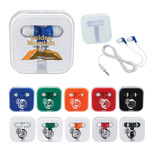 Promotional Ear Buds in Square Case - Imprinted Ear Buds in Square Case