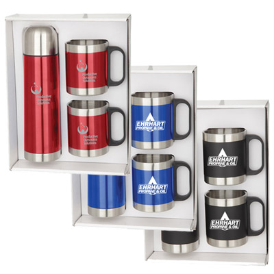 Stainless Steel Mugs & Thermos Set