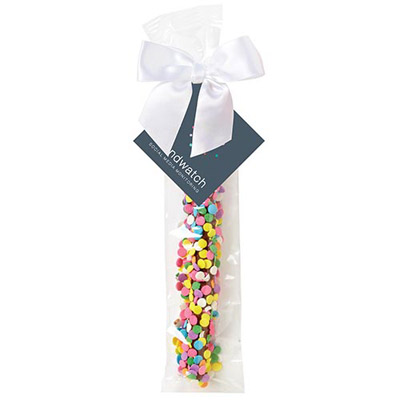 Chocolate Covered Pretzel Rod with Confetti Sprinkles