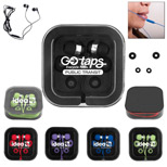Imprinted Microphone In Square Case - Promotional Earbuds with Microphone