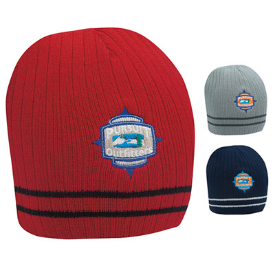 Double Stripe Beanie (embroidery)