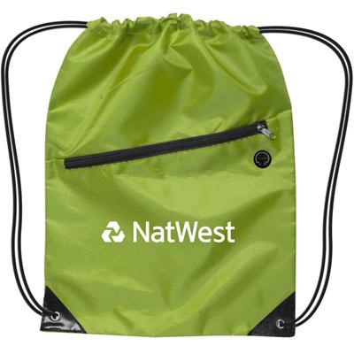 nylon drawstring backpack with zipper