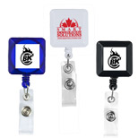 "Promotional Square Retractable Badge Reel - Custom 30"" Cord Square Retractable Badge Reel"