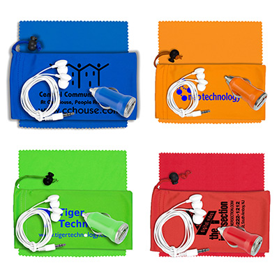 earbud/charger/microfiber cloth kit