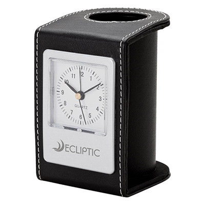 Leatherette Desktop Clock and Pen Cup