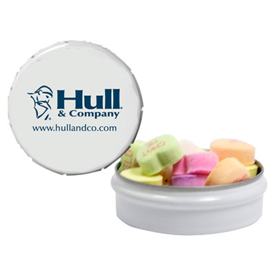 snap-top mint tin with conversation hearts