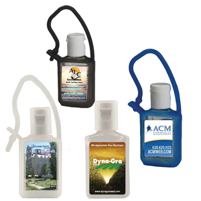 1/2 Oz  Flat Hand Sanitizer with Carabiner