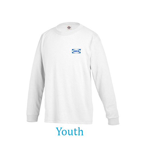 youth pro weight long sleeve tee 5.2 oz (white)