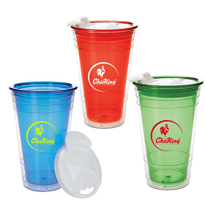 16 oz. Double Wall Party Cup With Lid