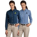 23393 - Port & Company® - Ladies Long Sleeve Value Denim Shirt