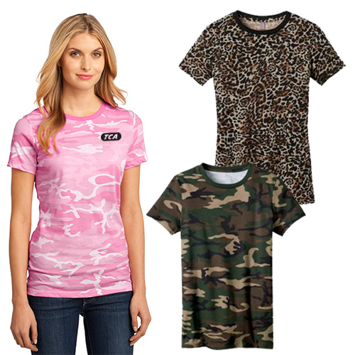 District Made® Ladies Perfect Weight® Camo Crew Tee