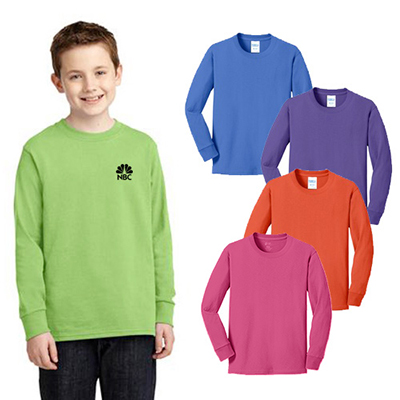 Port & Company® Youth Long Sleeve Core Cotton Tee (Color)
