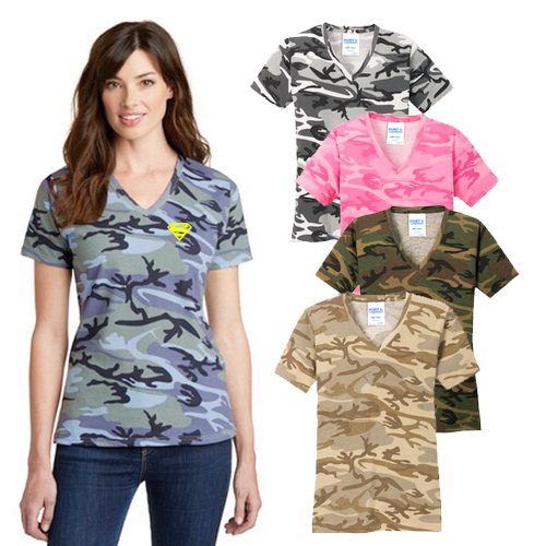 port & company ® ladies 5.4 oz. v-neck camo tee
