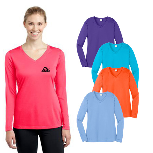 Sport-Tek® Ladies Long Sleeve Competitor™ V-Neck Tee