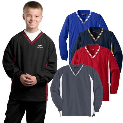 Sport-Tek® Youth Tipped V-Neck Raglan Wind Shirt