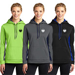 23596 - Sport-Tek ® Ladies Sport-Wick ® Fleece Colorblock Hooded Pullover