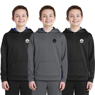 sport-tek® youth sport-wick® fleece colorblock hooded pullover