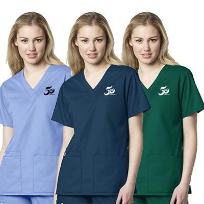 womens v-neck top - 4 pockets