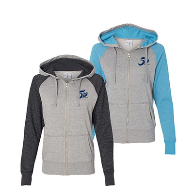 J. America Ladies' Glitter Hooded Full-Zip Sweatshirt