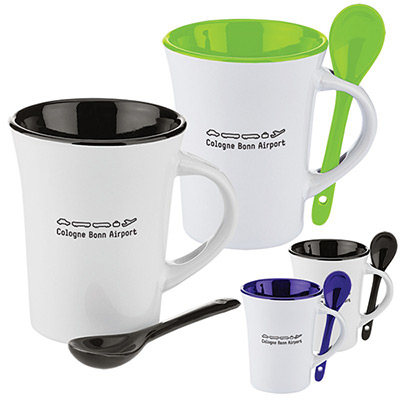 10 oz. two-tone ceramic mug with matching spoon