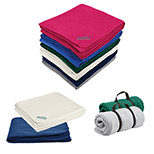 Imprinted fleece blankets with logo