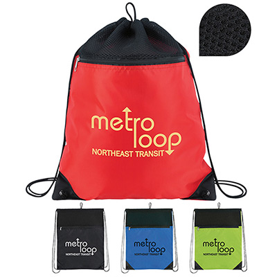 Mesh Top Court Drawstring Backpack