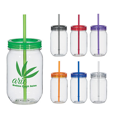 25 oz. mason jar with matching straw