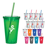 Promotional 16 Oz. Double Wall Acrylic Tumbler With Straw