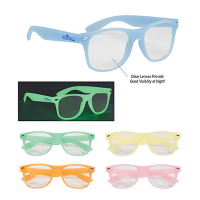 Glow-In-The-Dark Glasses With Clear Lenses